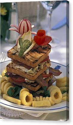 Gourmet Sandwich Served On A Balcony Canvas Print by Richard Nowitz