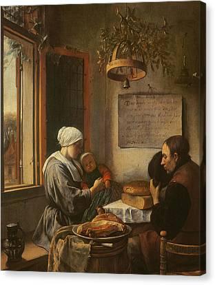 Grace Before Meat Canvas Print by Jan Havicksz Steen