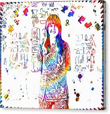Grace Slick Jefferson Airplane Paint Splatter Canvas Print by Dan Sproul