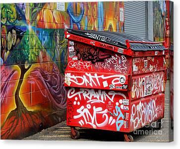 Grafitti And Trash Canvas Print by Ranjini Kandasamy