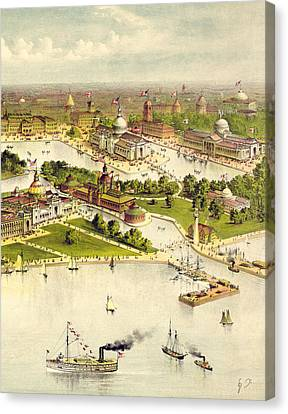 Grand Birds Eye View Of The Grounds And Buildings Of The Great Columbian Exposition At Chicago, Illi Canvas Print by Currier and Ives