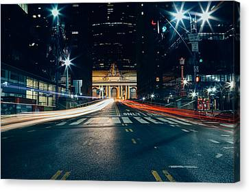 Grand Central Light Trails Canvas Print by Ryan Howard