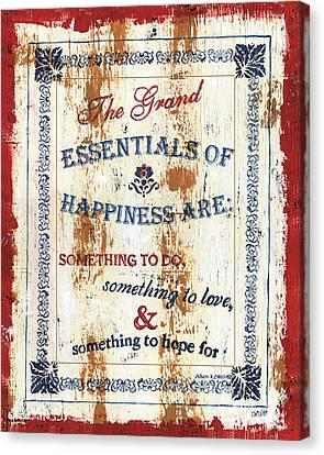 Grand Essentials Of Happiness Canvas Print by Debbie DeWitt