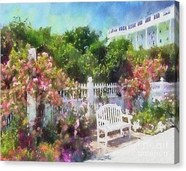 Grand Hotel Gardens Mackinac Island Michigan Canvas Print by Betsy Foster Breen