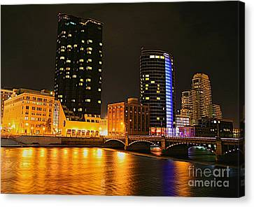 Grand Rapids Mi Under The Lights-2 Canvas Print by Robert Pearson