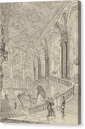 Grand Staircase Of The Winter Palace Canvas Print by French School