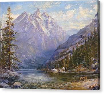 Grand Tetons And Jenny Lake Tryptych Center Canvas Print by Lewis A Ramsey
