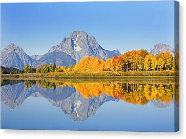 Grand Tetons In Autumn Canvas Print by Ron Dahlquist - Printscapes