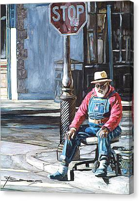 Grandpa Elliot On The Corner Of Royal Canvas Print by John Boles