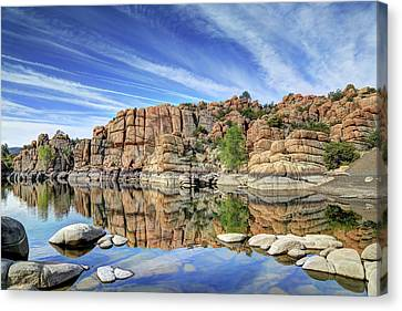 Granite Dells At Watson Lake Canvas Print by Donna Kennedy