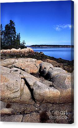 Granite Shoreline Deer Isle Maine Canvas Print by Thomas R Fletcher