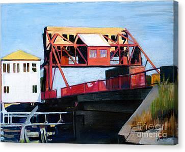 Granite Street Drawbridge At Neponset River Canvas Print by Deb Putnam