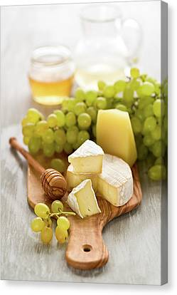 Grape, Honey And Cheese Canvas Print by Verdina Anna