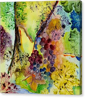 Grapes And Leaves IIi Canvas Print by Karen Fleschler