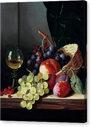Grapes And Plums Canvas Print by Edward Ladell