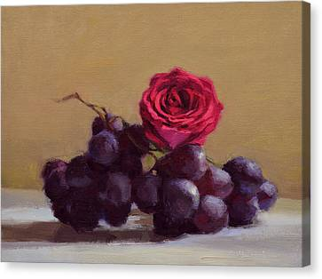 Grapes And Rose Canvas Print by Ben Hubbard