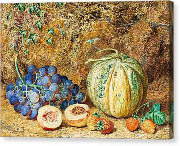 Grapes And Strawberries Canvas Print by Thomas Collier