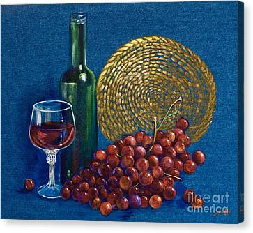 Grapes And Wine Canvas Print by AnnaJo Vahle