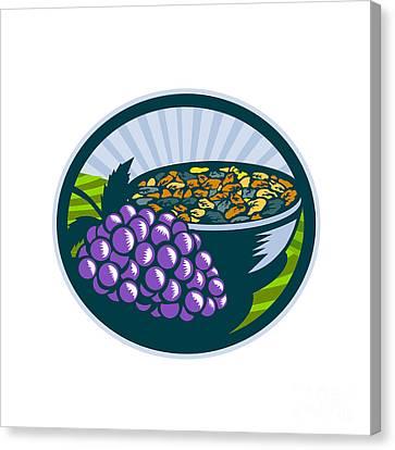 Grapes Raisins Bowl Oval Woodcut Canvas Print by Aloysius Patrimonio
