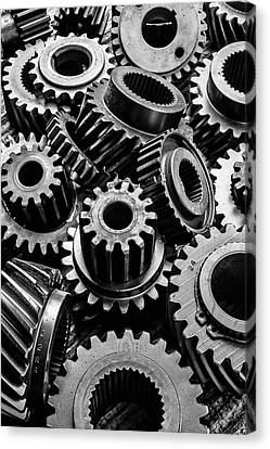 Graphic Old Gears Canvas Print by Garry Gay
