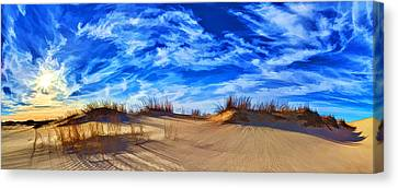 Grassy Dunes At Sandhills Sp Canvas Print by ABeautifulSky Photography