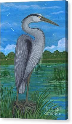 Gray Heron Canvas Print by Anna Folkartanna Maciejewska-Dyba