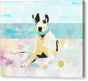 Great Dane At The Beach Canvas Print by Claudia Schoen
