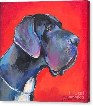 Great Dane Painting Canvas Print by Svetlana Novikova