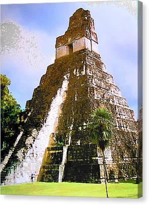 Great Jaguar Temple Of Tikal Canvas Print by Mark Cheney