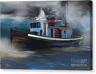 Great Lakes Tugboat Canvas Print by Bob Salo