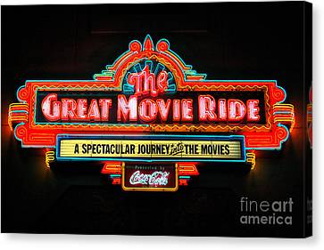 Great Movie Ride Neon Sign Hollywood Studios Walt Disney World Prints Ink Outlines Canvas Print by Shawn O'Brien
