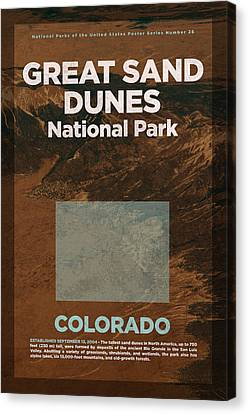 Great Sand Dunes National Park In Colorado Travel Poster Series Of National Parks Number 26 Canvas Print by Design Turnpike