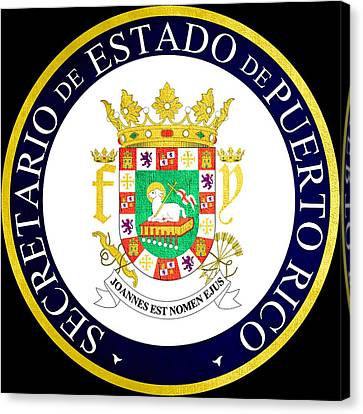 Great Seal Of Puerto Rico Canvas Print by Mountain Dreams