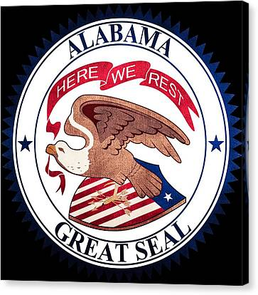 Great Seal Of The State Of Alabama Canvas Print by Ryan Wilson