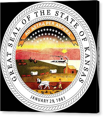 Great Seal Of The State Of Kansas Canvas Print by Mountain Dreams