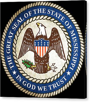 Great Seal Of The State Of Mississippi Canvas Print by Mountain Dreams