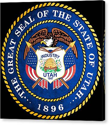 Great Seal Of The State Of Utah Canvas Print by Mountain Dreams