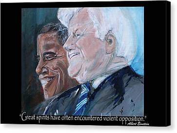 Great Spirits - Teddy And Barack Canvas Print by Valerie Wolf
