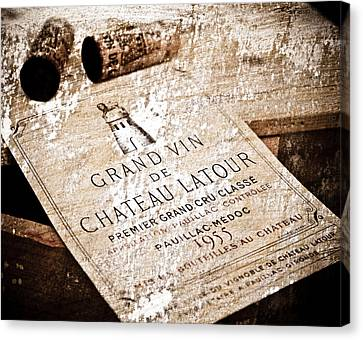 Great Wines Of Bordeaux - Chateau Latour 1955 Canvas Print by Frank Tschakert