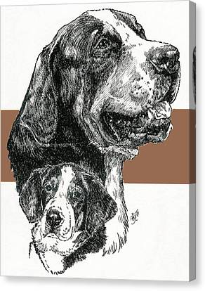 Greater Swiss Mountain Dog Father And Son Canvas Print by Barbara Keith