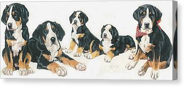 Greater Swiss Mountain Puppies Canvas Print by Barbara Keith
