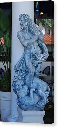 Greek Dude And Lion In Blue Canvas Print by Rob Hans