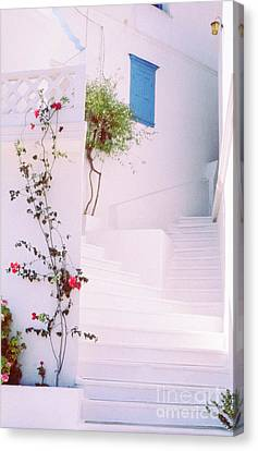 Greek Stairway With Roses Canvas Print by Silvia Ganora