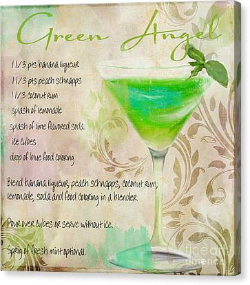 Green Angel Mixed Cocktail Recipe Sign Canvas Print by Mindy Sommers