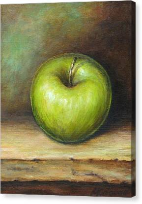 Green Apple Canvas Print by Mirjana Gotovac