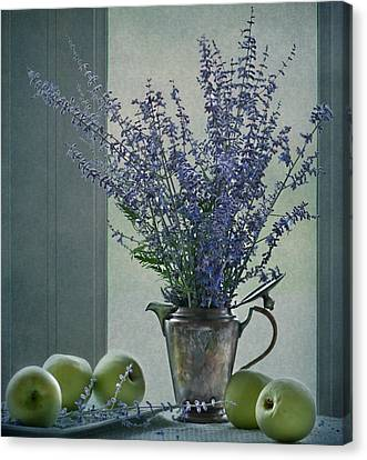 Green Apples In The Window Canvas Print by Maggie Terlecki