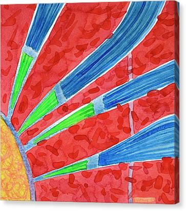Green Aund Blue Sun Rays Canvas Print by Heidi Capitaine