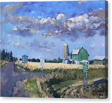 Green Barn In Glen Williams On Canvas Print by Ylli Haruni