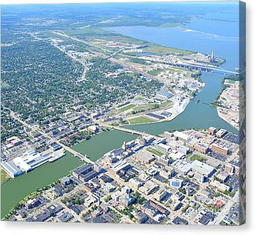 Green Bay Downtown Canvas Print by Bill Lang