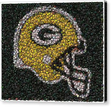 Green Bay Packers Bottle Cap Mosaic Canvas Print by Paul Van Scott